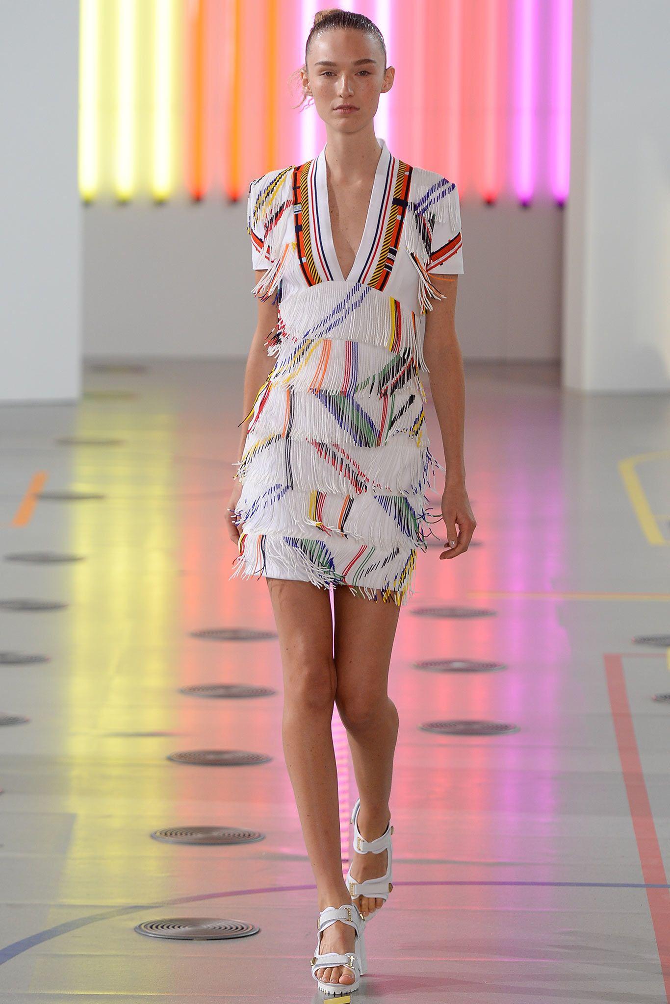 Preen by Thornton Bregazzi | Spring 2015 Ready-to-Wear | 33 Multicolour fringed short sleeve mini dress