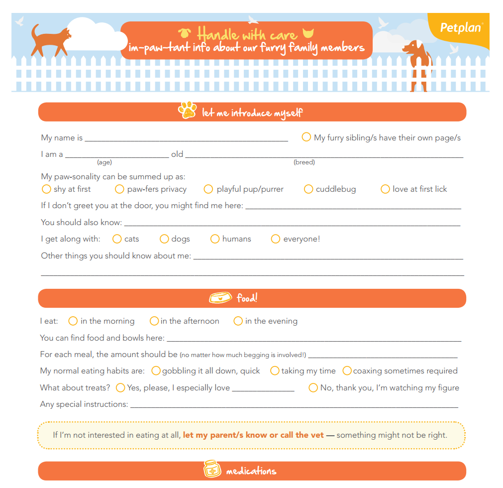 dog care sheets