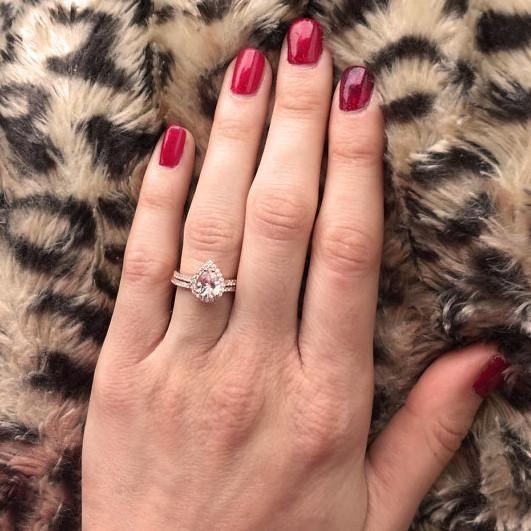 Ladies 14K Rose Gold 1.40 Ct Pear Diamond Wedding Bridal Engagement Ring Set #giftjewelry22