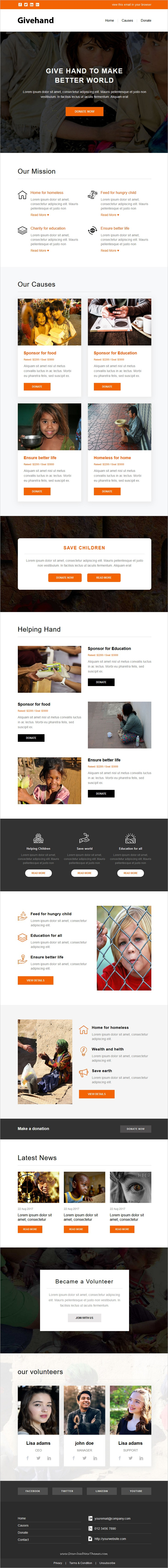 givehand charity nonprofit newsletter template stampready