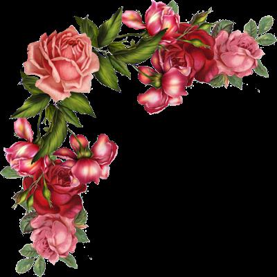 Cantos de flor para decoupagem.