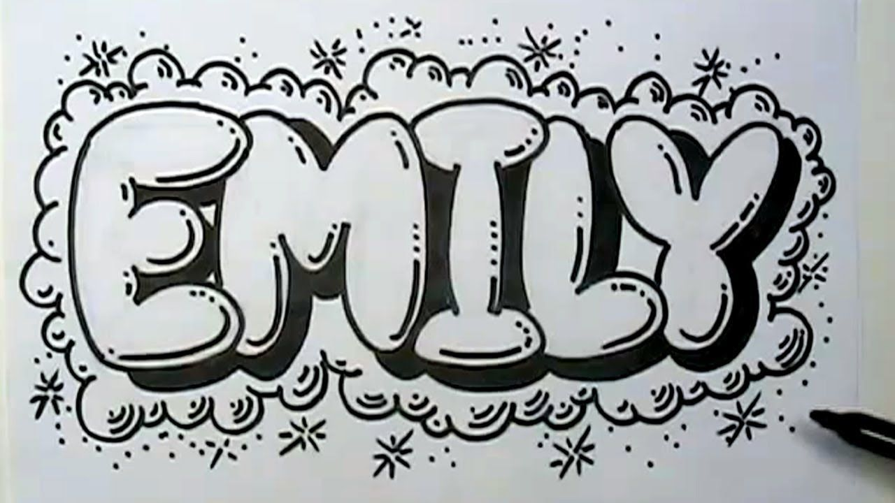 How To Graffiti Letters Write Emily In Bubble Letters Youtube