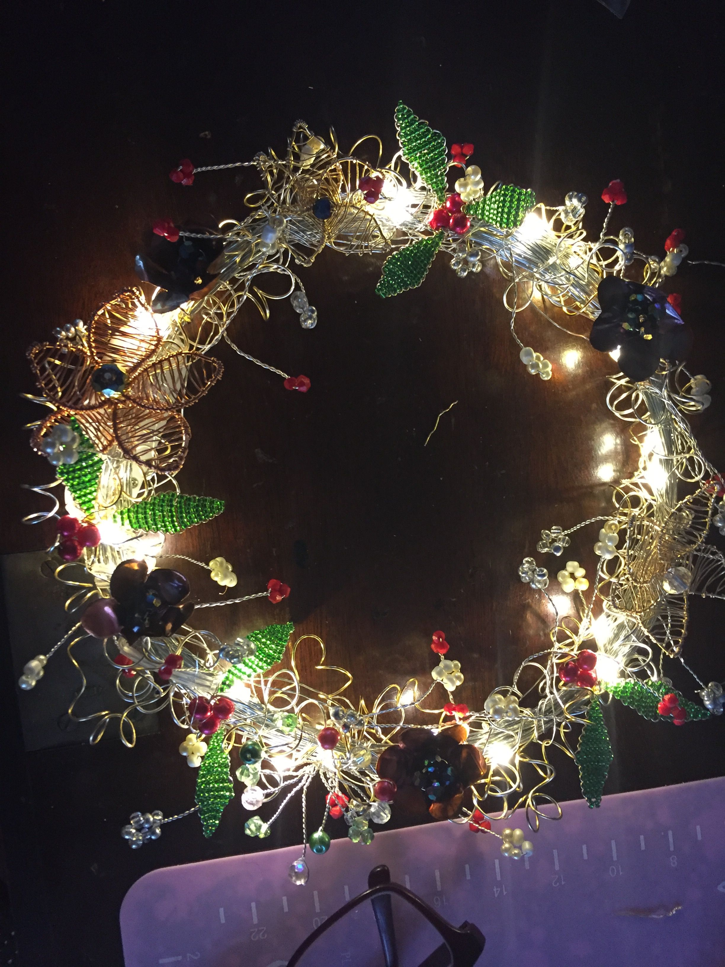 All handmade wire woven Xmas wreath. All components hand crafted ...