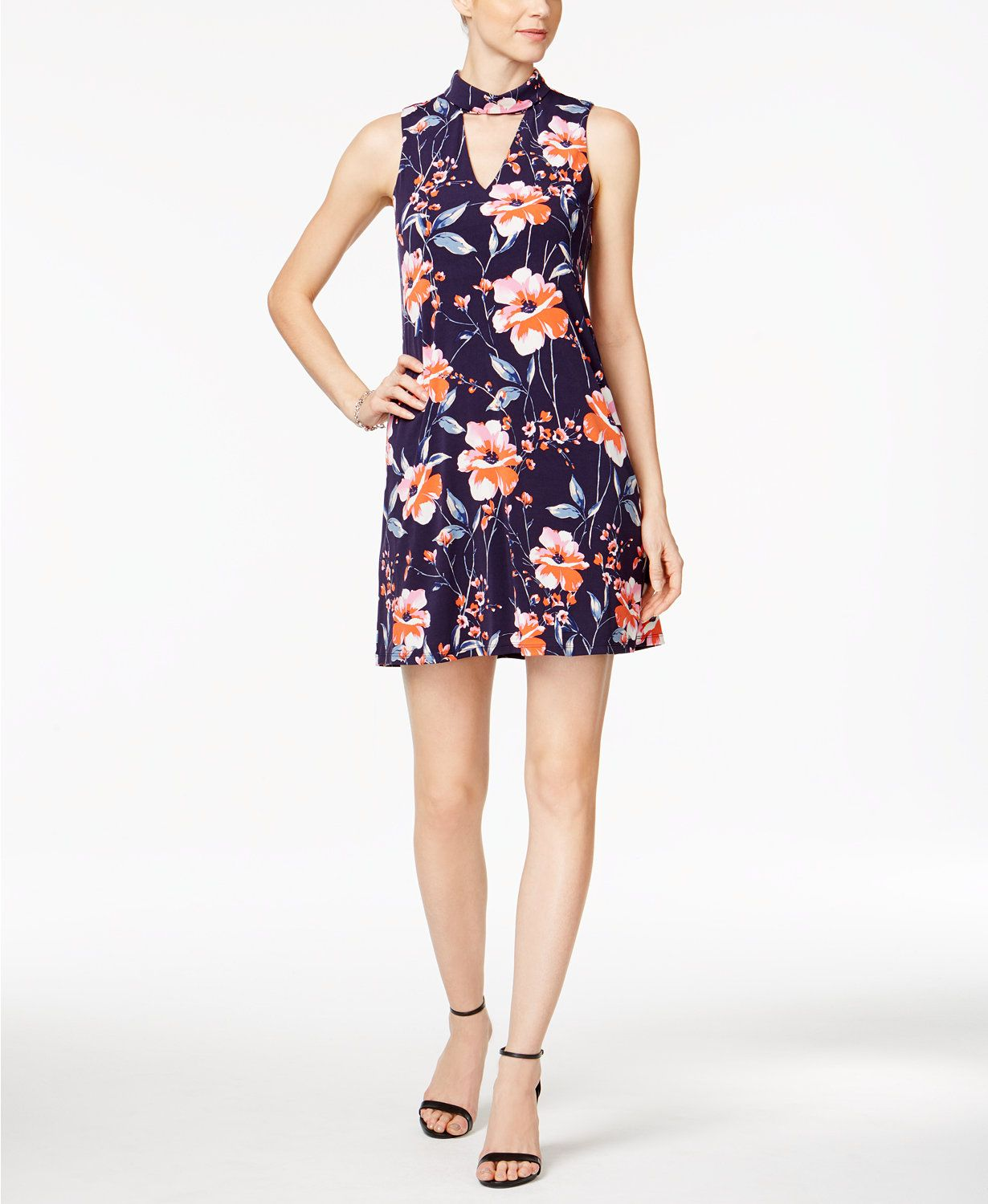 Ivanka Trump Floral-Print Choker Shift Dress | macys.com | Macy's ...