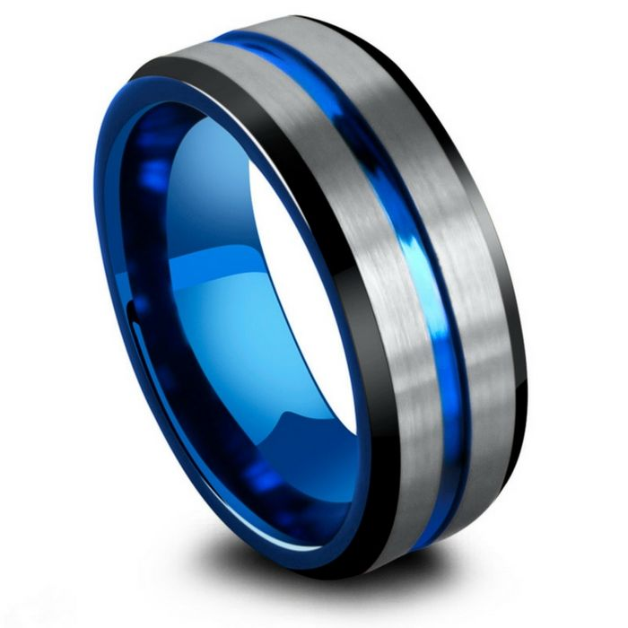Mens Three Tone Tungsten Wedding Ring Black Silver And Blue The Most