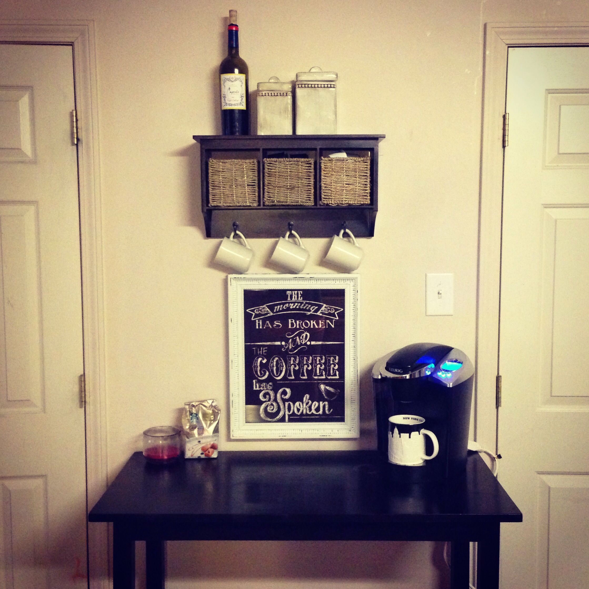 My coffee station. Less than $40 for all. Wall art from Kirkland\'s ...