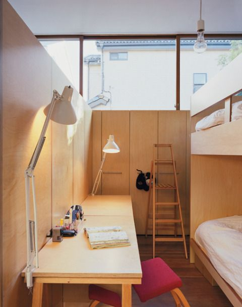 cool kids room - nice timber great use of space b e d r o o m
