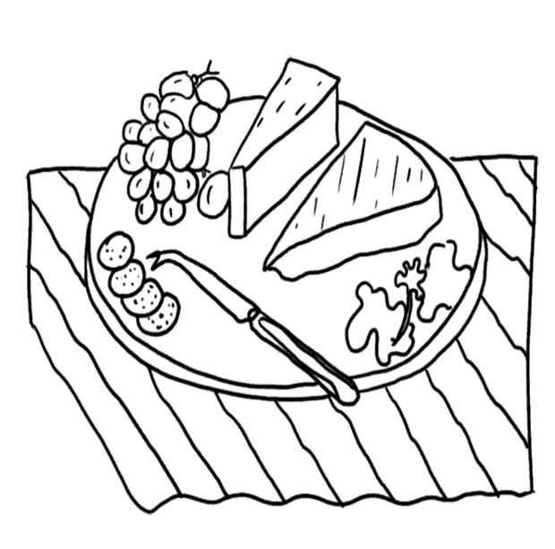 Slice Cheese Plate Coloring Page For Kids Coloring Pages