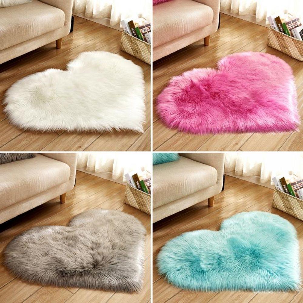 UK Fashion Heart-shaped Bathroom Carpet Living Room Anti-Slip Bath Mat Cushion