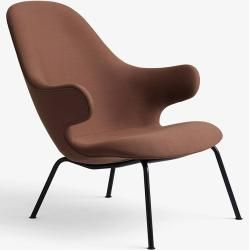 Photo of & tradition Catch Lounge Jh14 armchair frame round tubular steel black, fabric red Steelcut 2 365 & trad