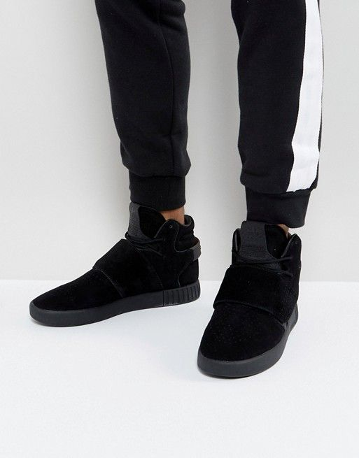 hot sales official store free shipping adidas Originals Tubular Invader Strap Sneakers In Black BY3632 ...