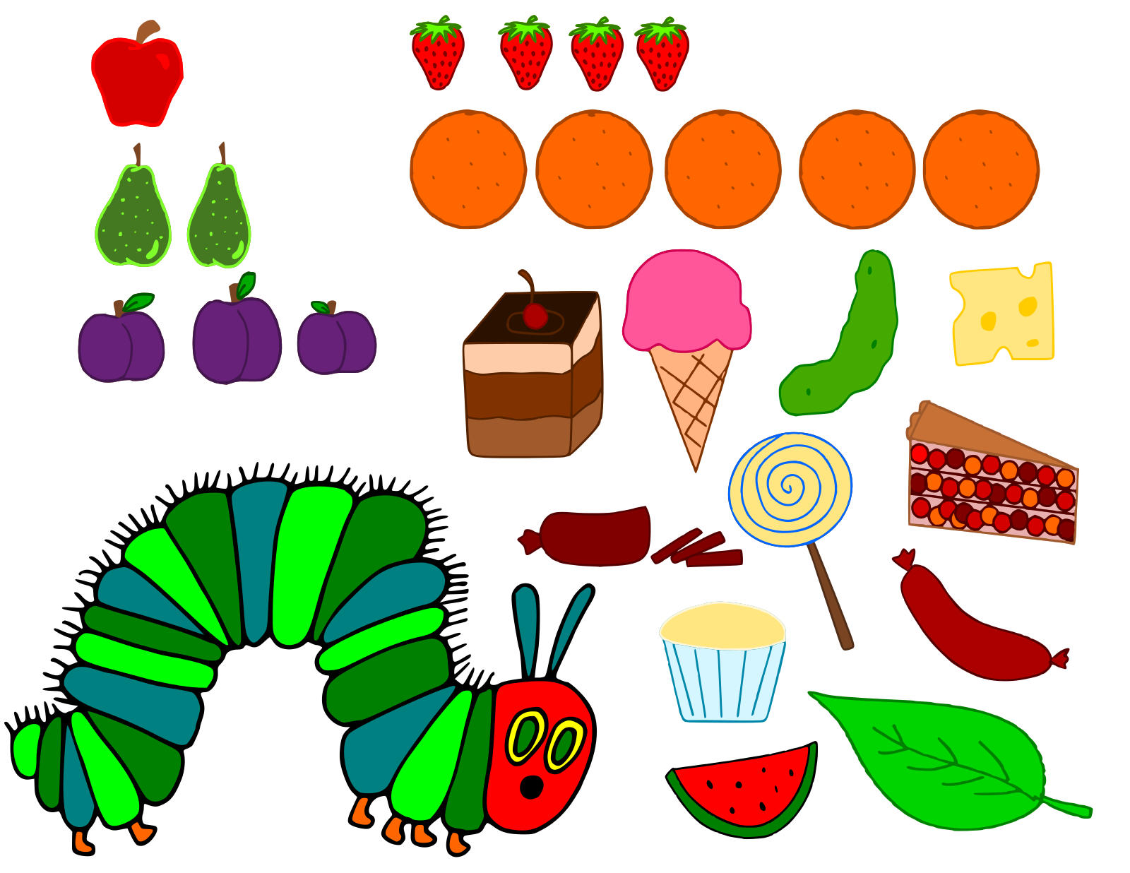HUNGRY+CATERPILLAR 17 files uoloaded | Free SVG Files | Krafty nook