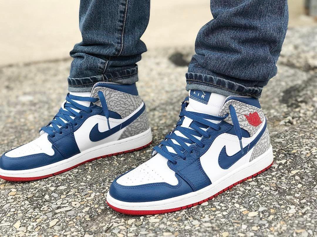 buying new amazon huge sale Air Jordan 1 Mid True Blue in 2019 | Sneakers fashion, Nike ...