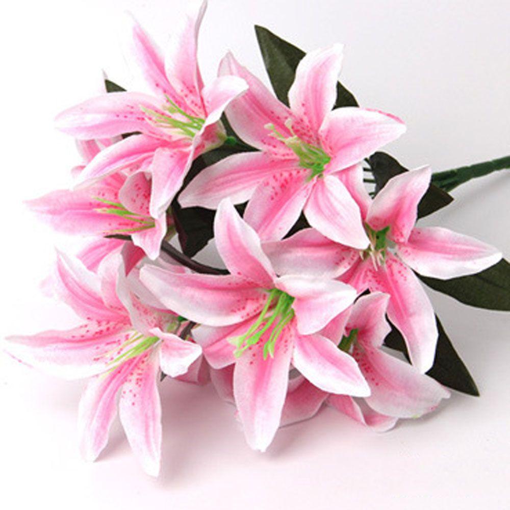 Newcomdigi 10 Heads Artificial Lily Silk Flower Bridal Wedding ...