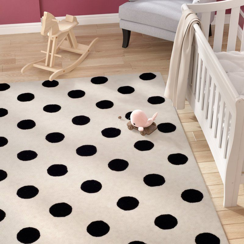 Claro Polka Dots Hand Tufted Ivory Black Area Rug