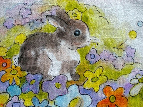 HAND PAINTED Tea Towel Cottontail and Flowers by zilieboutique, $18.50