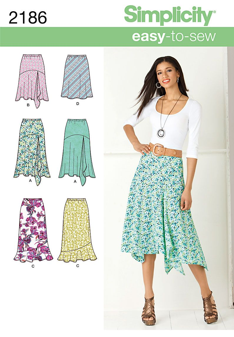 2186 Misses' Skirts Misses' Easy to Sew bias skirt sewing pattern in two  lengths. Want to make this in grey knit $9.55