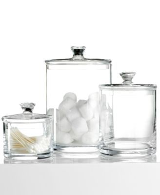 Organize All Your Bathroom Knick Knacks Such As Cotton Swabs Makeup Wedges More With This Large Gl Jar From Hotel Collection