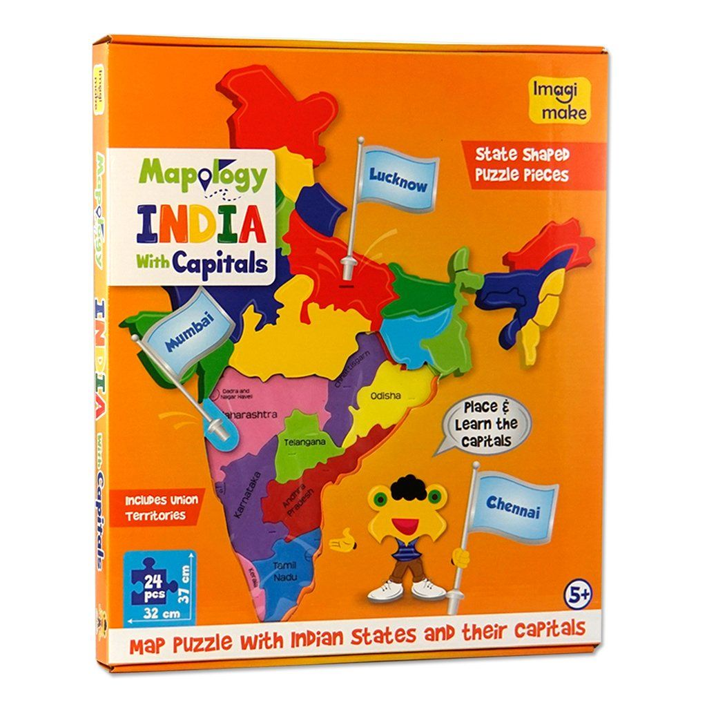 Mapology india with capitals map puzzle educational