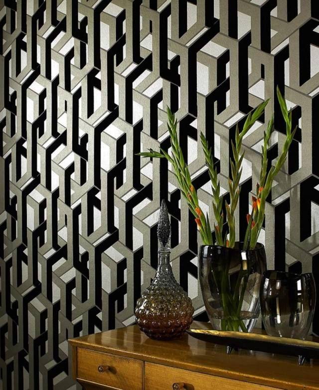 tapeten wohnzimmer geometrisch schwarz olivengrün frogalom