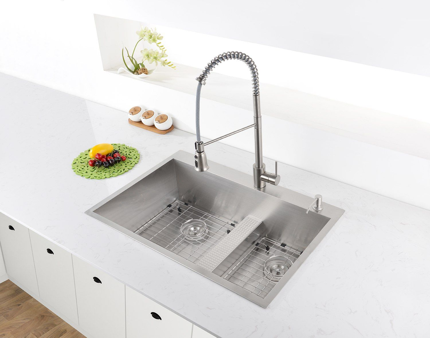 Ruvati Rvh8059 33 Inch Drop In Low Platform Divide Zero Radius 60 40 Double Bowl 16 Gauge Stainless Steel Topm With Images Top Mount Kitchen Sink Complete Kitchens Divider