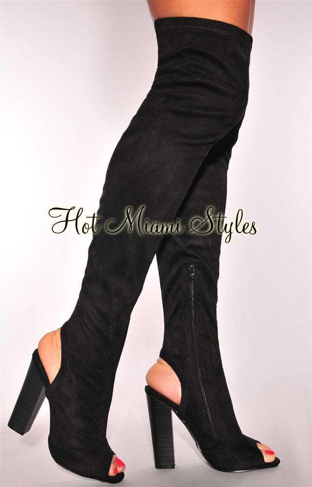 482b626f7f3 Black Faux Suede Peep Toe Wooden High Heel Boots | Puss & BooTs ...