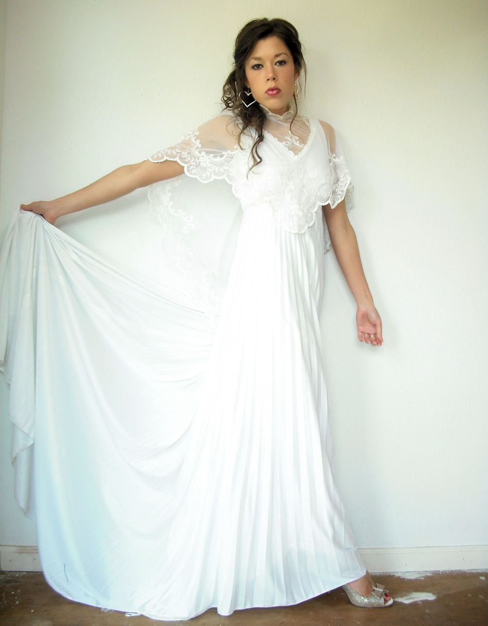 70\'s Vintage White Bohemian Accordion Pleated A Line Wedding Dress ...
