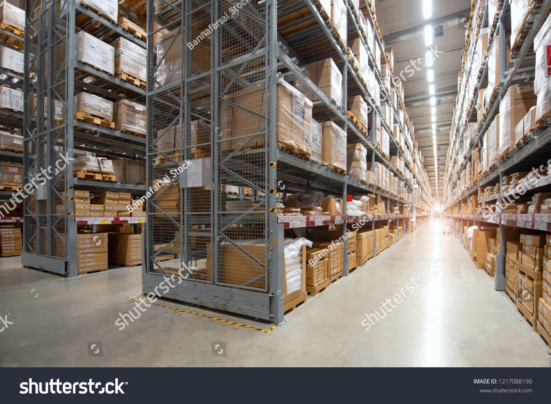 Huge Distribution Warehouse With High Shelves Distribution Huge
