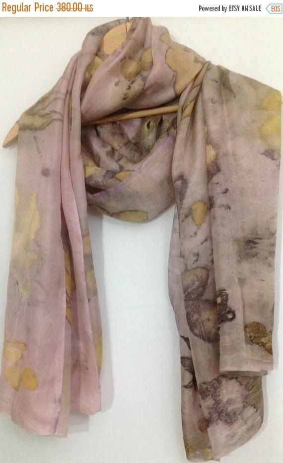 Silk Scarf Eco Print Pinc scarf Women Scarf by rachelsilkscarves