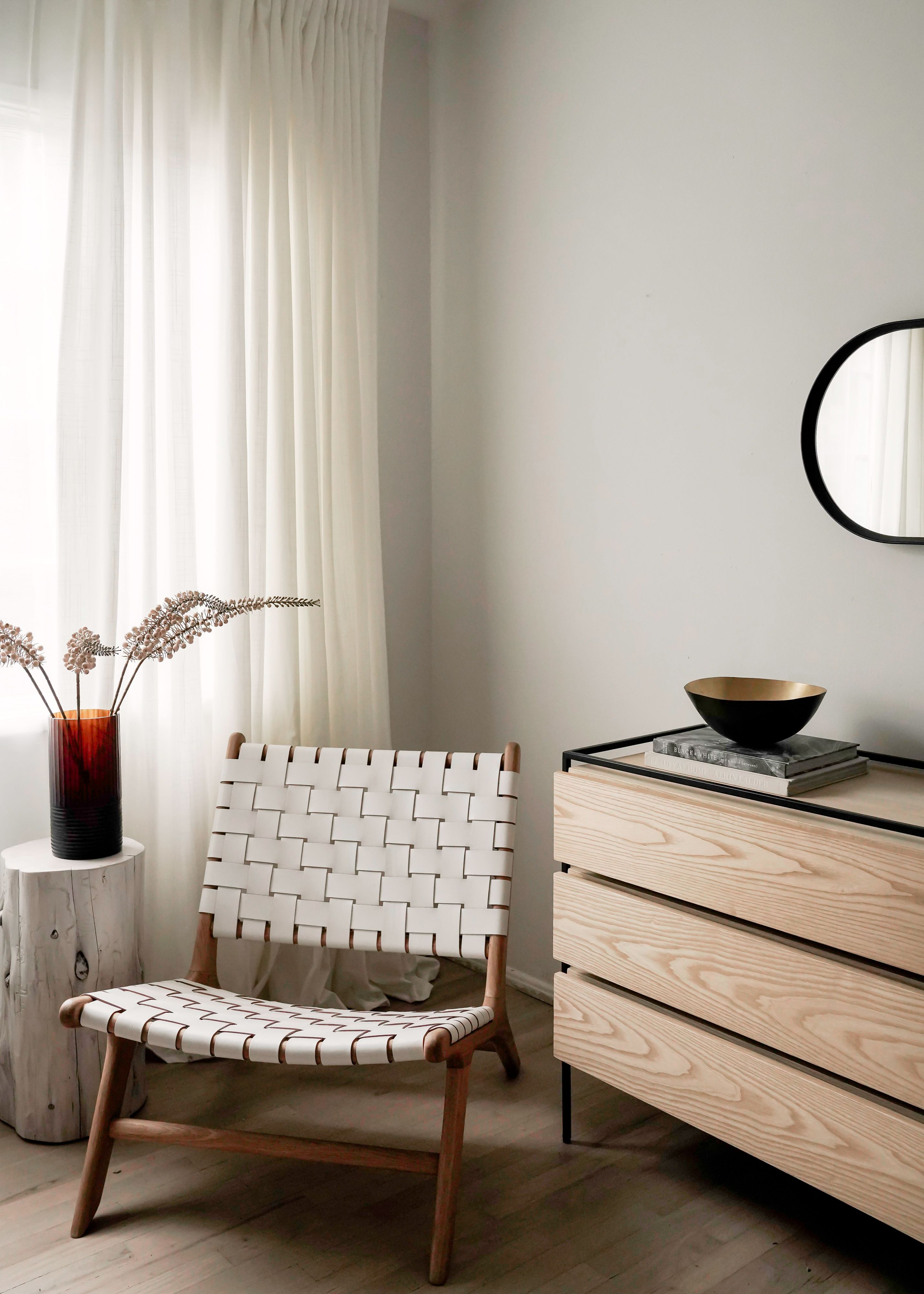 Best Bedroom Update Woven Leather Chair From Barnaby Lane 400 x 300