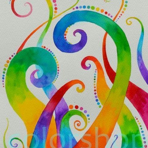 Szivárvány indák - eredeti akvarell A4, Dekoráció, Képzőművészet , Otthon, lakberendezés, Baba-mama-gyerek, Meska