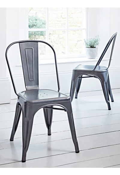 Two Grey Hammered Metal Chairs - Kitchen - Indoor Living