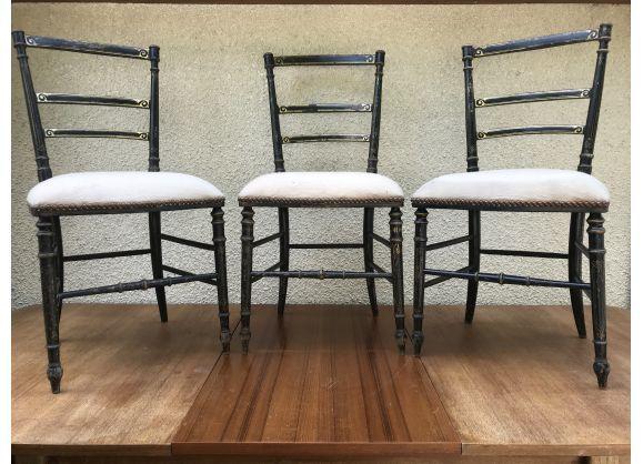 Serie De 3 Chaises Anciennes Style Napoleon Iii Bois Noir Et Tissu Vintage Chaisesanciennes Mobilier De Salon Tissu Vintage Et Chaise Ancienne