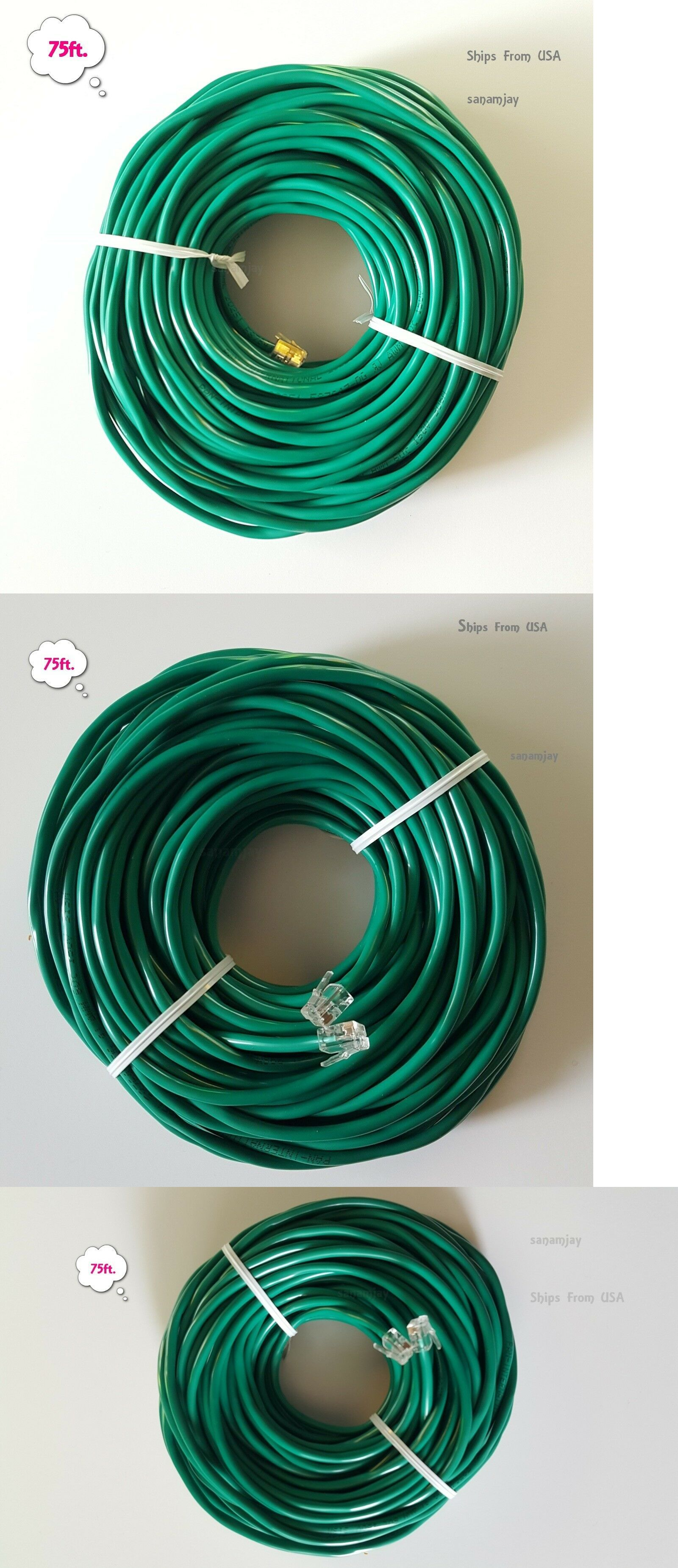 75ft. RJ11 RJ12 Green DSL Telephone Data Cable for