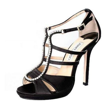 Jimmy Choo Satin Platform Black Sandals,High Heels For Girls