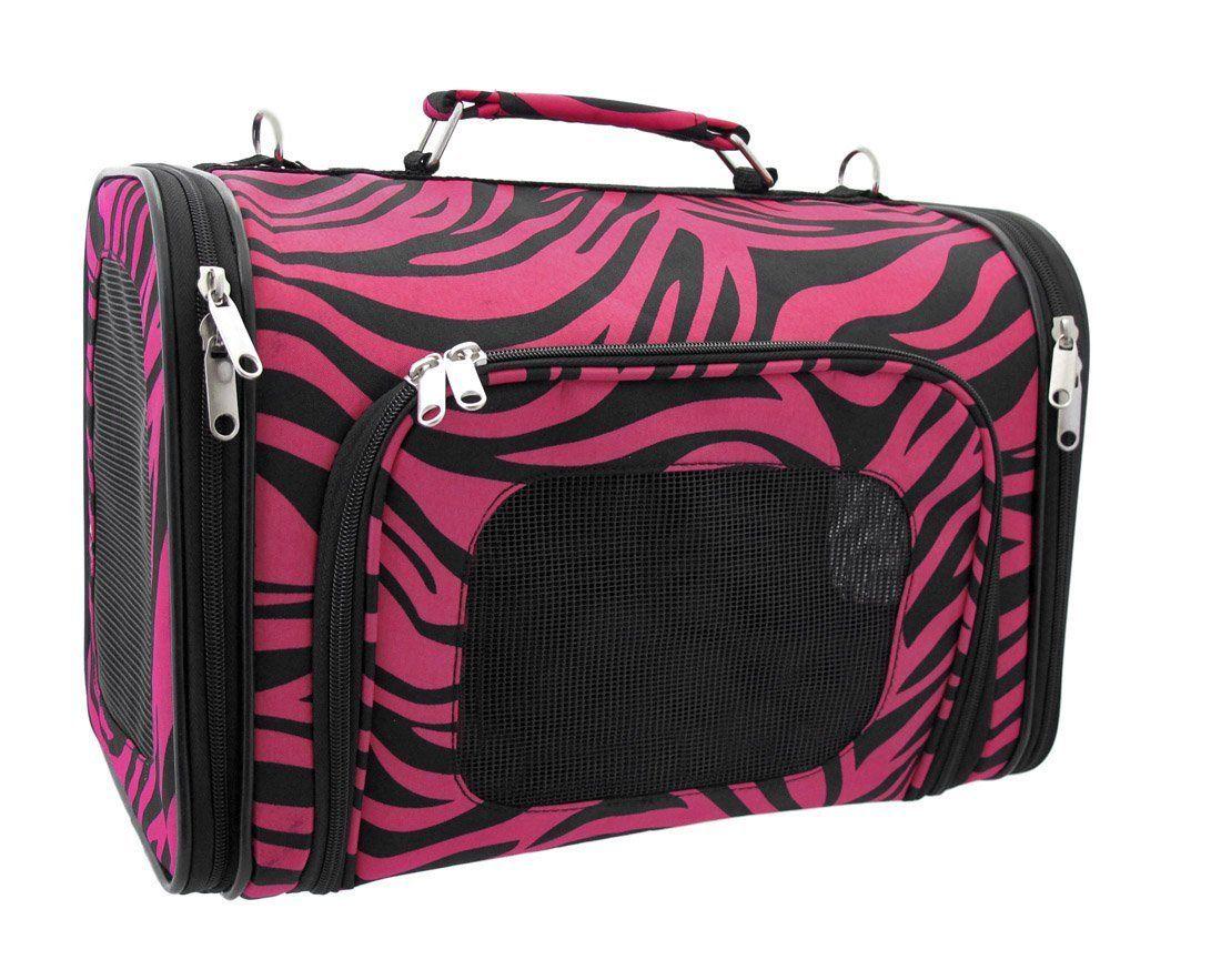 Hot Pink Zebra Dog Cat Softsided Pet Carrier Medium, 16