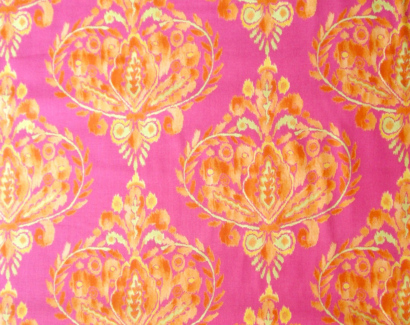 Hot Pink Yellow Orange Ikat Quilter's Weight Cotton Print Fabric - One Yard - Yardage - By the Yard by SuchPrettySupplies on Etsy