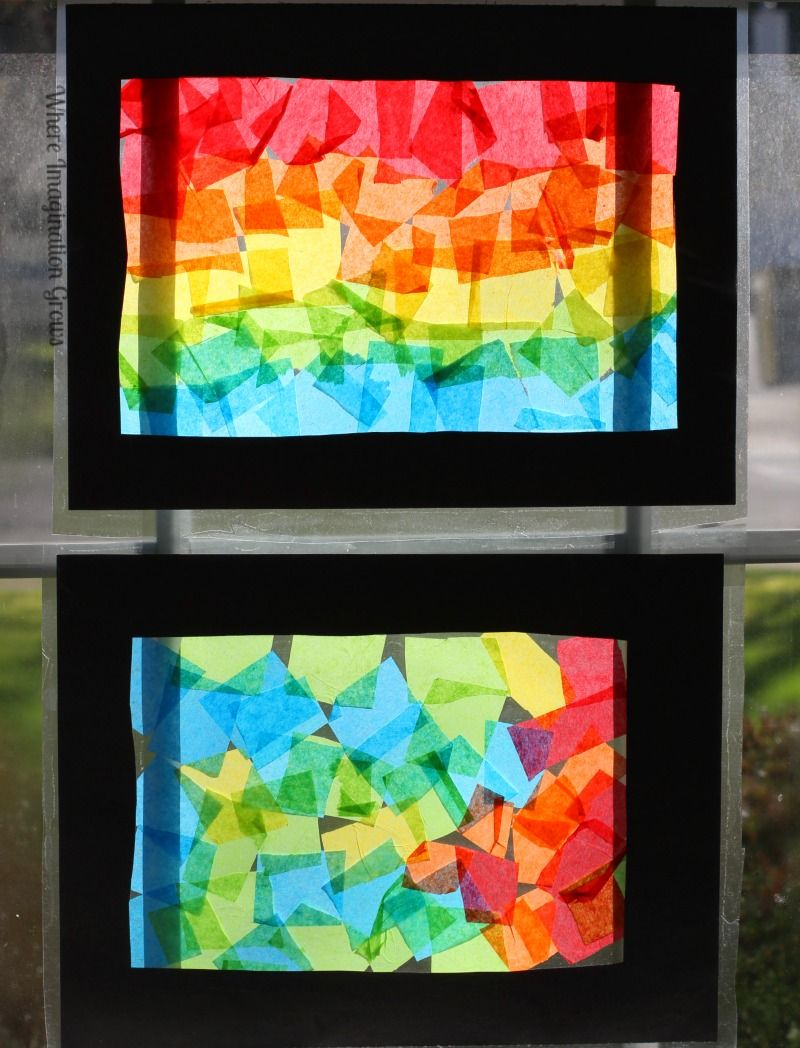 Tissue paper rainbow craft for kids collage rainbows for Colour paper craft