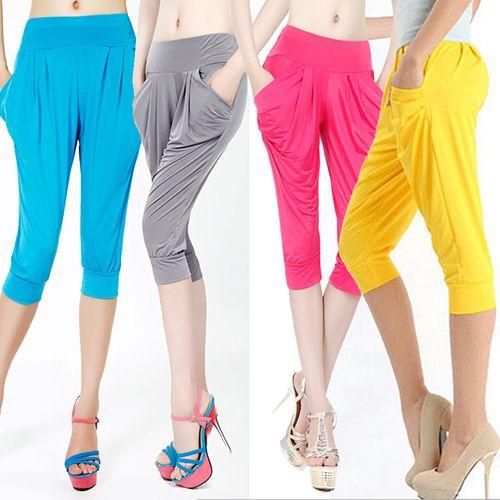 Women Summer Loose Harem Pants Candy Color Elastic Capris Pockets Trousers New Arrival #Affiliate