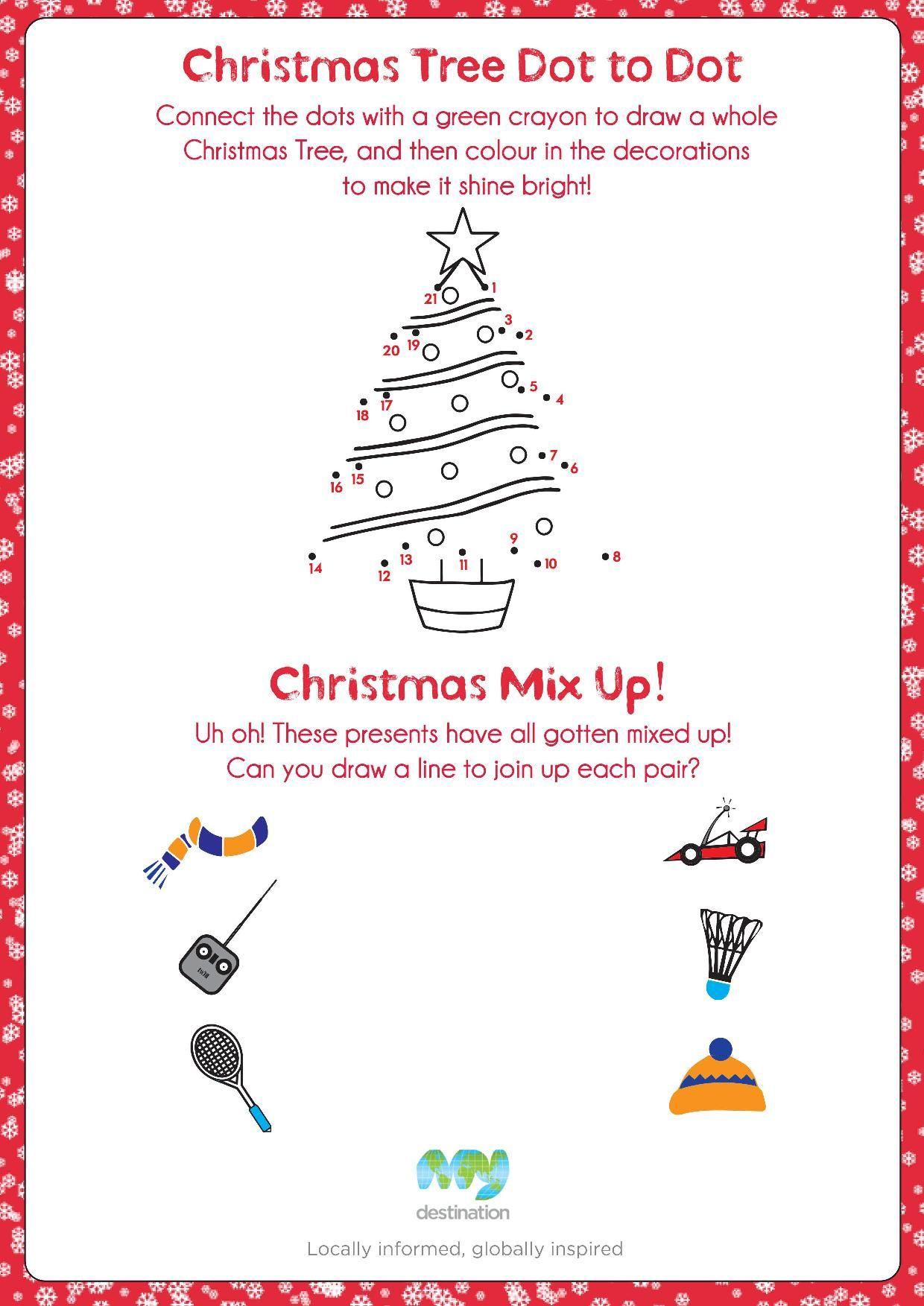 Christmas Tree Dot To Dot And Christmas Present Mix Up