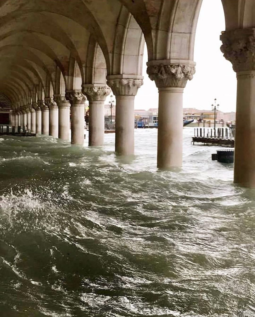 "Photo of Steffan on Instagram: ""Venice, Italy. RG @marielouisescio  #venice #italy #water #ocean #floods #arches #architecture #columns #tragedy #interiors #setdesign…"""