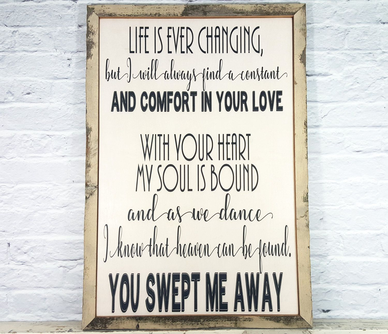 Wedding Song Lyric Art Song Lyric Wall Art Wood Sign Etsy In 2020 Song Lyrics Art First Dance Lyrics Wedding Song Lyrics