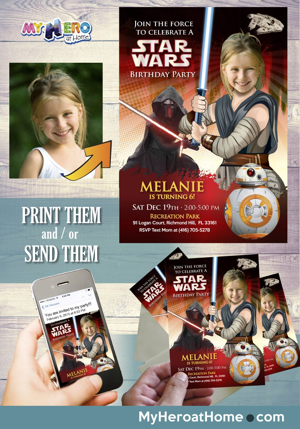 Star Wars Birthday Invitation For Girls Jedi Rey Ideas Party The Last