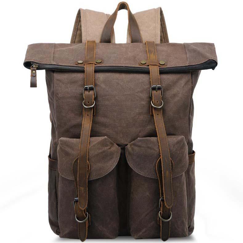 Men Waterproof Oil Wax Canvas+Real Leather Backpack Sport Travel Bag Book Bag L