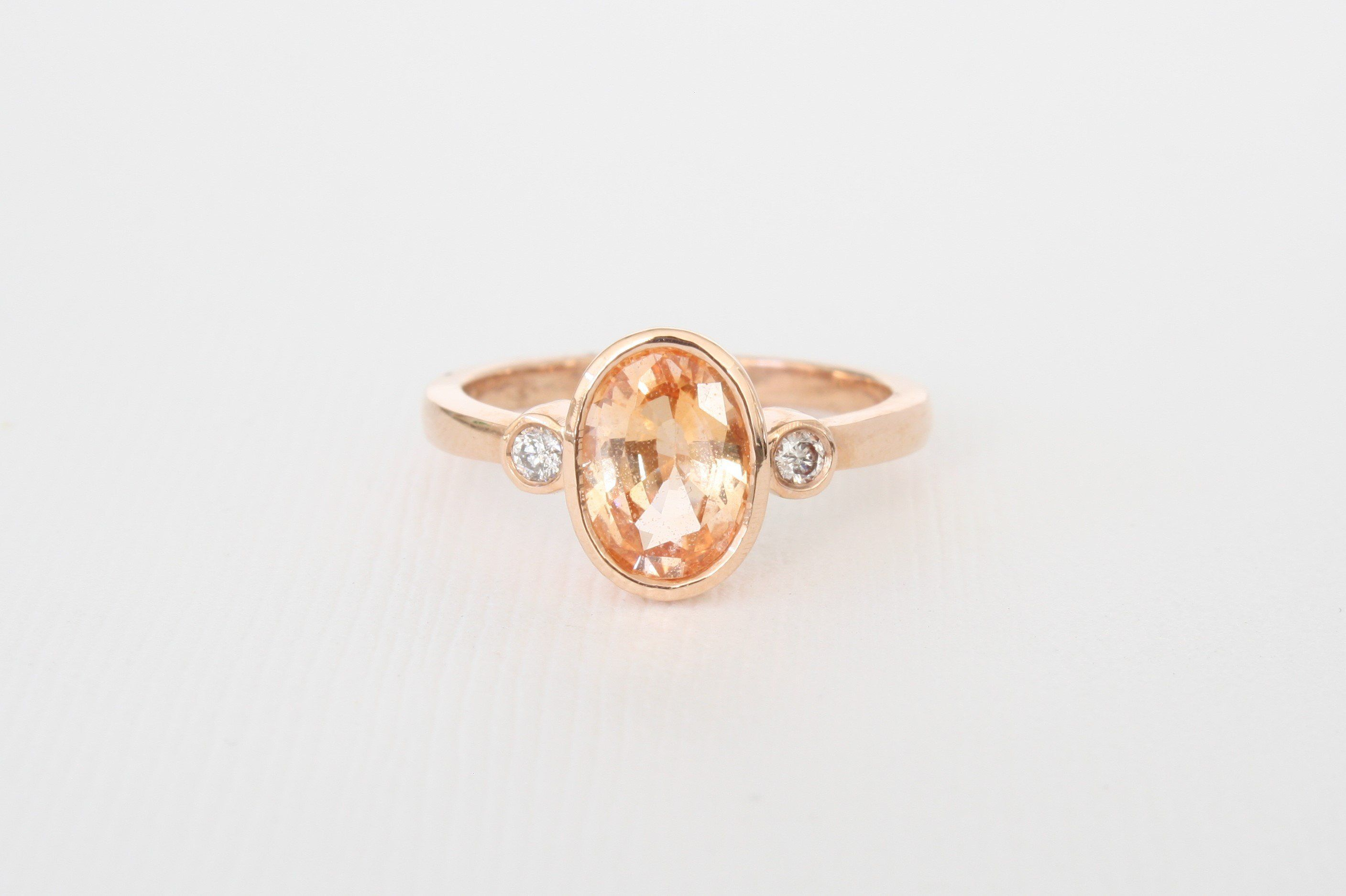 sapphire halo baxtermoerman in gold and white peach with cushion olivia rose products ring a