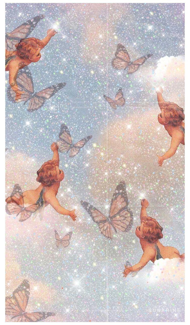 Baby Angel Butterfly Wallpaper X Angel Make Up Aesthetic Angel Wallpaper Iphone Wallpaper Vintage Cute Wallpaper Backgrounds
