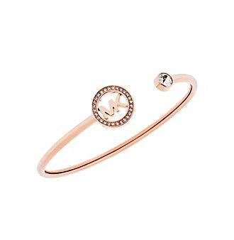 Michael Kors® Rose Goldtone Pave MK Open Bangle Bracelet