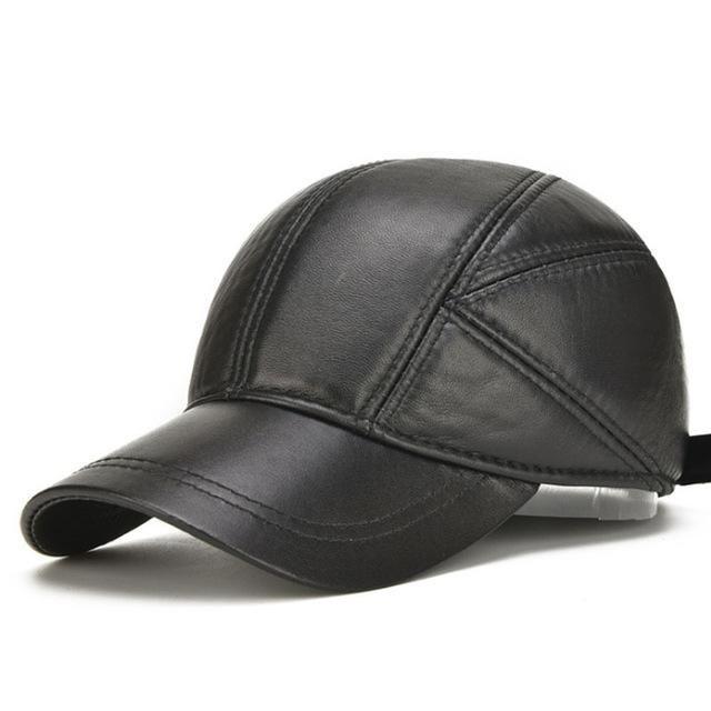 48ce9d005a4  AETRENDS  Sheepskin Hats for Men Genuine Leather Baseball Cap Men