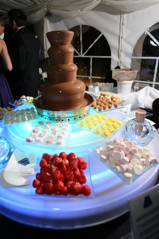 """Chocolate Fountain- Definitely now on my """"really want"""" list!! With fruits and creme puffs..."""