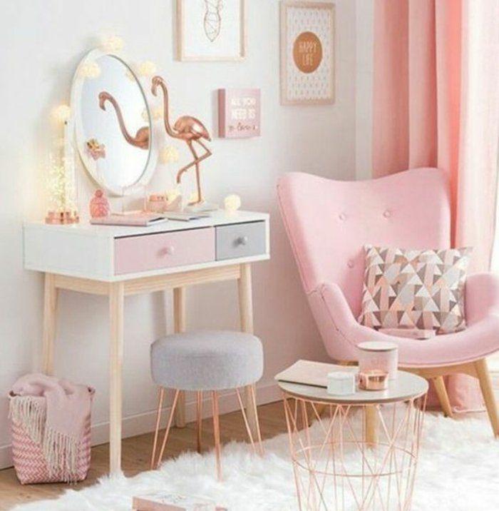 1001 conseils et id es pour une chambre en rose et gris sublime table basse en cuivre - Idee deco chambre bebe fille rose et gris ...